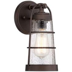 "Kichler Lyndon 11 1/4"" High Seedy Glass Outdoor Wall Light - #2T925 