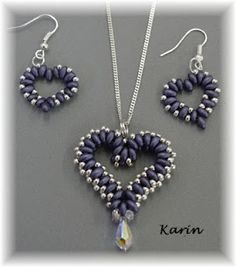 Heart Pendant and Earrings - Love the pendant .... need to find the pattern !