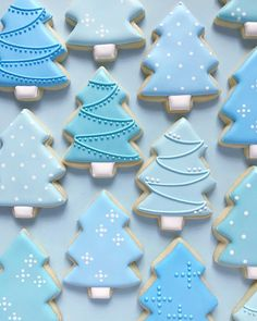 merriest Christmas blue tree cookie