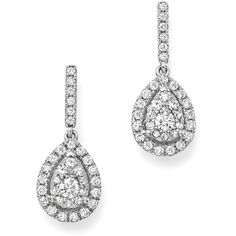 Diamond Cluster Teardrop Earrings in 14K White Gold, 1.0 ct. t.w. -... (€2.025) ❤ liked on Polyvore featuring jewelry, earrings, 14k white gold earrings, earring jewelry, white gold teardrop earrings, white earrings and 14 karat gold jewelry