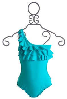 To The 9's Ruffled Tween Swimsuit in Turquoise $54.00