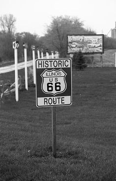 Route 66 Shield. A special section of old Rt. 66 in Lexington, Illinois.