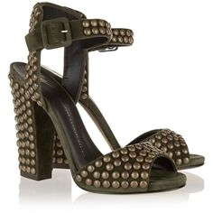 Giuseppe Zanotti Studded suede sandals, Size: 38 ($440) ❤ liked on Polyvore featuring shoes, sandals, giuseppe zanotti, olive green shoes, suede sandals, block heel shoes, embellished shoes and olive green sandals