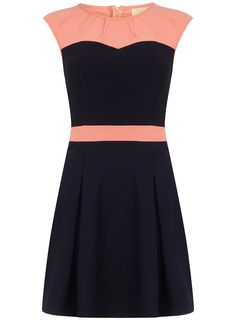 Navy and pink contrast pleat detail dress with cap sleeves