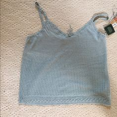 """Ralph Lauren Jeans Co. Blue Tank Top XL Delicate top with lace straps, lined, and has a knit lace overlay.  Portmire Blue. Approx length from top of straps to hem 23"""". Ralph Lauren Tops Tank Tops"""