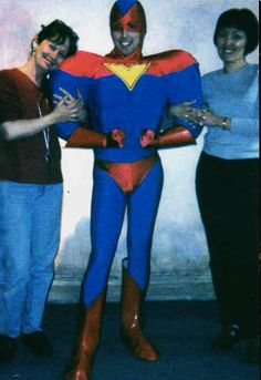 "This costume was made with an inner ""muscular"" body that was underneath of visible royal blue outfit ( jersey stretch fabrics). His red footwear and gloves are sewn from artificial leather. Superman was dressed and ready for new adventures. Everyone was happy about the great fit and powerful look of the Super Hero's new costume!"