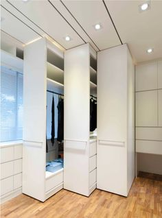 Space saving pull out wardrobe