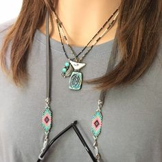 Excited to share this item from my shop: Beaded leather eyeglass chain, gray turquoise peach pink, Southwest sunglasses holder necklace and eyewear retainer, free USA shipping Leather Necklace, Leather Jewelry, Diy Necklace Holder, Jewelry Holder, Eyeglass Holder, Glass Necklace, Bracelet Patterns, Sunglasses Holder, Eyeglasses