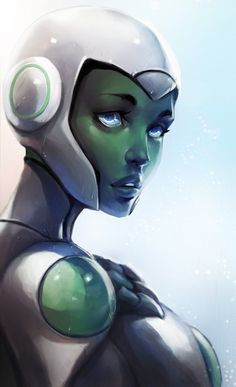 Aya (Hal's mispronunciation of A.I.) is a fictional character, a super-heroine in the DC Comics universe. Created by Bruce Timm she made her first appearance in Green Lantern #64 in 2011. Aya is the most advanced artificial intelligence ever devised, and started off as the A.I. navigator of the Interceptor. Far more than a simple program. Aya showed her true intelligence and learned to use various robotic components and her own green energy to form a body for herself.