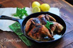 Spatchcocked chicken with mint & garlic. This method of butterflying a ...