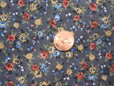 Vintage 1960s Cute Rose Buds on gray Calico Quilt half by tessimal, $4.50