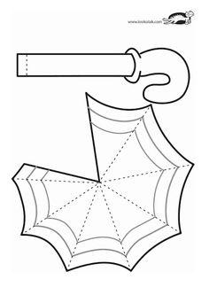 Moldes Krokotak - umbrella craft Regenschirm Vorlage