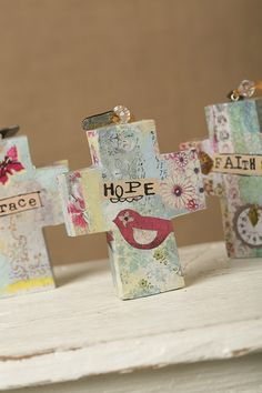 Collage crosses make great gifts. At Tre Sorellas.