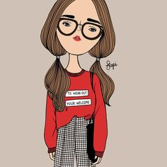 People Illustration, Cute Illustration, Cute Cartoon Girl, Cute Art Styles, Illustrations And Posters, Drawing Techniques, Fashion Sketches, Caricature, Art Girl