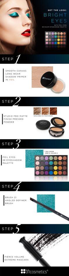 Get the look: Metallic teal eyes with BH Cosmetics Foil Eyes - 28 Color Eyeshadow Palette :)