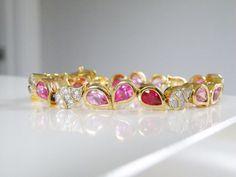 14Kt Gold on Sterling Silver Genuine Rich Red Pink White Leaf Station Bracelet #CA #Tennis