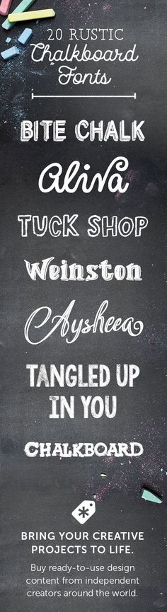 In styles ranging from rough, angular caps to rounded, childlike script, these fonts all share the textures of white chalk on a black board. They are perfect for adding a casual, retro touch to design projects, everything from actual menu boards to restaurant signage to laid-back wedding invitations. Here are 20 rustic chalkboard fonts to add to your collection of unique typography for eye-catching font designs.