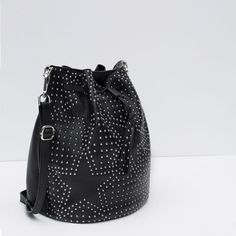 LEATHER BUCKET BAG WITH STUDS from Zara