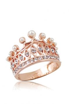 Gold Pearl Crown Ring