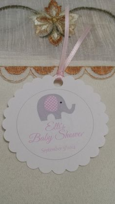 Baby shower favor tag girl Etsy listing at https://www.etsy.com/listing/188919012/personalized-favor-tags-2-12-baby-girl