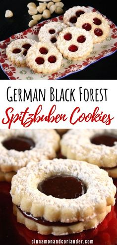 German Black Forest Spitzbuben Cookies – Food for Healty German Christmas Cookies, German Cookies, Christmas Desserts, Christmas Baking, Christmas Recipes, New Year's Desserts, German Desserts, Plated Desserts, Homemade Chocolate