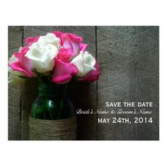 Mason Jar Of Roses & Barnwood Save The Date Postcard