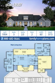 Modern Farmhouse Home Plan is 1954 Sq Ft, 3 Bedrooms, Bathrooms and a 2 Car Garage - Farmhouse style house plan with almost 2000 square feet of living space. A three bedroom bath c - Family House Plans, Ranch House Plans, New House Plans, Dream House Plans, Small House Plans, Dream Houses, Square House Plans, Open Floor House Plans, The Plan