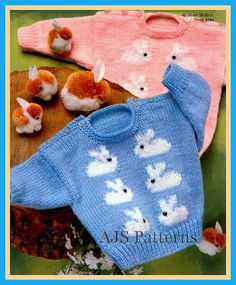 PDF Knitting Pattern for  Baby Boys and Girls Jumper with a Cute Rabbit Motif