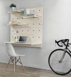 Beautiful minimalistic modular wall desk made from Foarm shelves. #Foarm #shelves