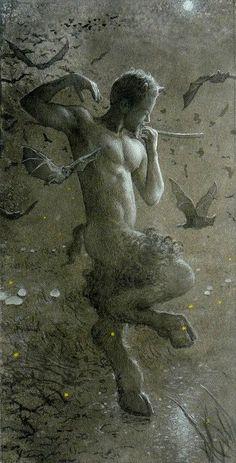 Allen Todd Yeager - 'Pan's Moonlight Dance with Bats'