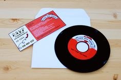 Vinyl wedding invitations. (Rockabilly record invitation. $70.00, via Etsy.)