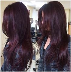 Are you looking for Dk Brown Purple Burgundy hair color hairstyles? See our collection full of Dk Brown Purple Burgundy hair color hairstyles and get inspired! Hair Color Dark, Cool Hair Color, Brown Hair Colors, Color Red, Ombre Colour, Violet Brown Hair, Violet Red Hair Color, Plum Red Hair, Color Shades