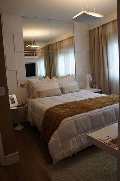 revestimento 3d quarto de casal com espelho mauren buest #revestimento #revestimento3d #decoração