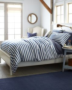 Shop for patterned sheets at Garnet Hill in dots, stripes and prints. Patterned sheets and printed sheets in percale, jersey and flannel in original designs. Bedroom Themes, Bedroom Decor, Bedroom Ideas, Outdoor Bedroom, Nautical Theme Bedrooms, Nautical Bedding, Bed Ideas, Bedroom Designs, Nautical Bedroom Furniture