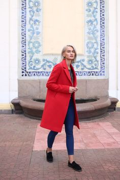 Women Wool Coat in Blue-Violet with belt Mens Wool Coats, Types Of Coats, Utility Jacket, Coats For Women, Primary Colors, Color Change, Red And Blue, Survival, Normcore