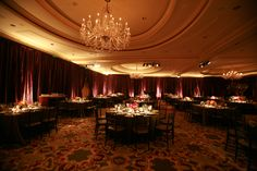 Enhanced Lighting installed Egg Plant Taffeta around the Ritz Carlton SF Ballroom. Candlelit uplighting and table pinspotting created an inviting room for the guests. Event Lighting, San Francisco, Egg, Table Settings, Plant, Table Decorations, Room, Home Decor, Eggs