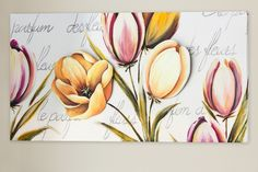 Contemporary floral wall panel decorated by hand