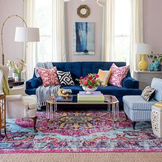 Living Room Decoration and Design Ideas - Ribbons & Stars Bohemian Living, Boho Living Room, Living Room Decor, Bedroom Decor, Blue Couch Living Room, Colourful Living Room, Eclectic Living Room, Living Room Designs, Eclectic Decor