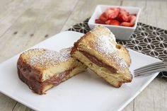 french toast nutella & strawb sandwich.. KILLING IT