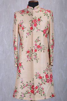 1e5549fe2920 Beige Raw Silk Resham Embroidered Wedding Sherwani-SH404 Mens Dress  Outfits