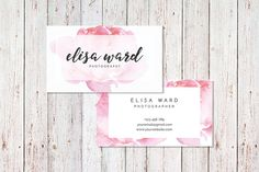Cute Watercolor Floral Business Card Template (Digital files, Pre-made)