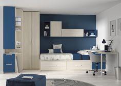Kids Touch 12 Habitación juvenil Juvenil Camas Compactas y Nidos: Cama compacta con cajones, con escritorio, estanterías y armario.