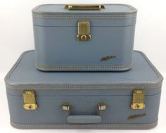 Vintage Lady Baltimore Light Blue Hard Shell Luggage Bundle Suitcase Train Case #LadyBaltimore