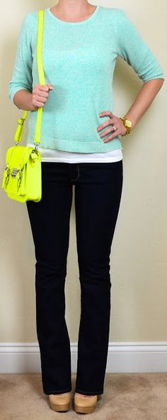 Outfit Posts: outfit post: dark wash bootcut jeans, mint sweater, neon yellow bag