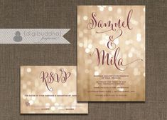 Champagne Bokeh Wedding Invitation & RSVP 2 Piece Suite Plum Gold Lights Modern Script Shabby Chic Pastel CUSTOM COLORS DiY or Printed- Mila