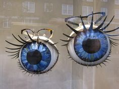 """AUERBACH & STEELE, Optometrist, London, UK, """"Are you eyeballing me with those baby blues?"""", pinned by Ton van der Veer"""