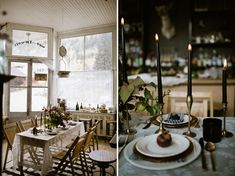 black taper candles Small reception Crab apple arrangement Photography   Our Love Is Loud Style   Laurel + Rose Flowers   Lale Floral Designs Venue   Bread Bar + Dram Apothecary