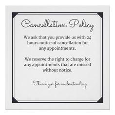 Cancellation policy poster for salon or spa custom gift ideas diy Beauty Salon Decor, Beauty Bar, Nail Salon Decor, Beauty Ideas, Salon Promotions, Salon Signs, Lash Room, Card Invitation, Salon Business