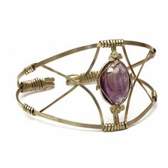 Upper Arm Cuff Armband Upper Cuff Bracelet Arm Bracelet Amethyst Upper... ($65) ❤ liked on Polyvore featuring jewelry, bracelets, wire wrapped jewelry, hinged cuff bracelet, purple amethyst jewelry, purple jewelry and bohemian style jewelry