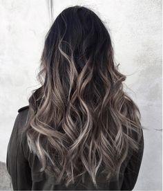 Grey ombré hair colour and highlights Long hair styles